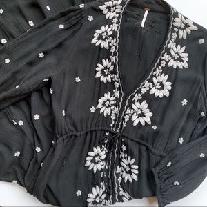 Free People Black Embroidered Fable Dress Size M